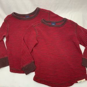Twin 2T red stripe long sleeve shirts